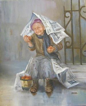 yağmur yağıyor olsa da, bostanından topladığını satarak para kazanmaya çalışan yaşlı teyze