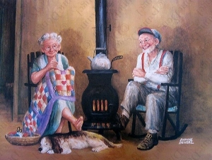 sobanın sıcaklığının tadını çıkartan yaşlı çift