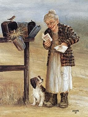 seni seviyorum mektubu ile mutlu olan yaşlı kadın