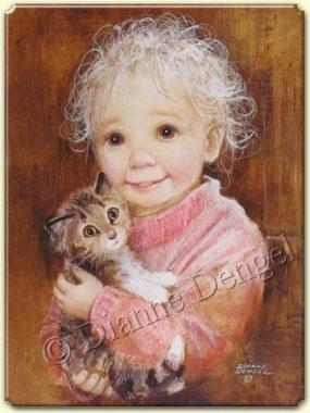 meraklı gözlerle bakan kedi ve meraklı gözlerle kız
