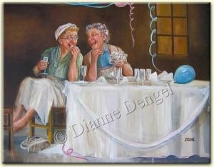 doğum günlerini kutlayan mutlu yaşlı kadınlar
