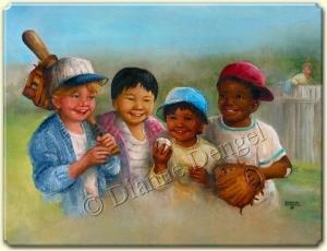 beysbol oynamayı seven çocuklar ve çitlere bakın bir kaçak ziyaretçileri daha var