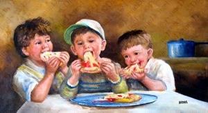 pizzayı ııııımmmmmmhhhh afiyetle götüren çocuklar