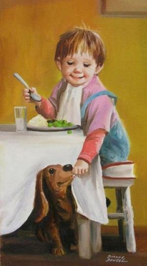 yemeğini köpeği ile paylaşan çocuk