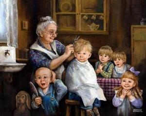 berber nine ve saçlarının kısaltılma zamanı gelmiş çocuklar