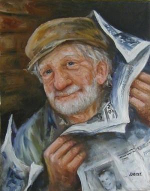 gözlerinde, yaşına rağmen hala umut ışığı parlayan yaşlı amca