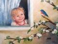 ağacın dalına konan kuşu penceresinden meraklı gözlerle izleyen çocuk