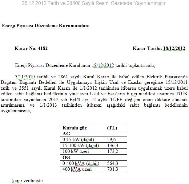 EPDK bağlantı bedelleri 2013
