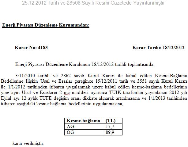 EPDK kesme bağlama bedelleri 2013