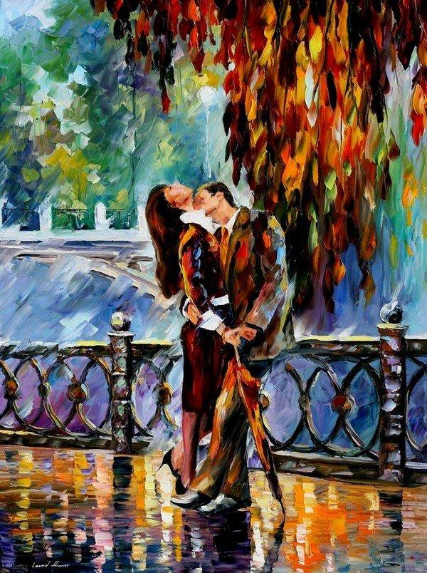 yağmur altında öpüşme