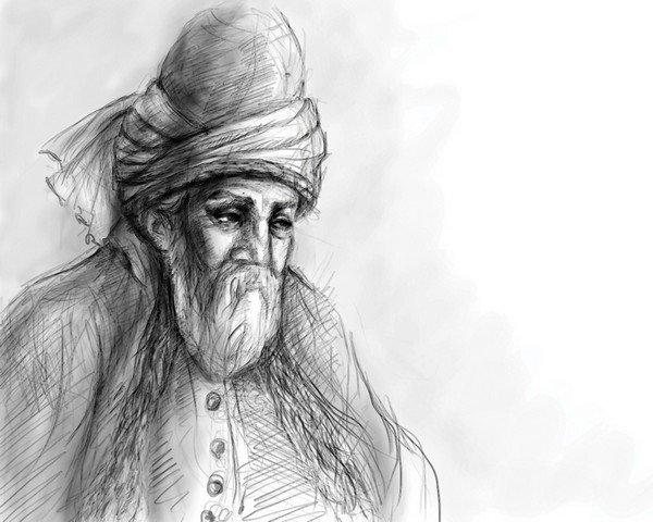Mevlana kara kalem çizim