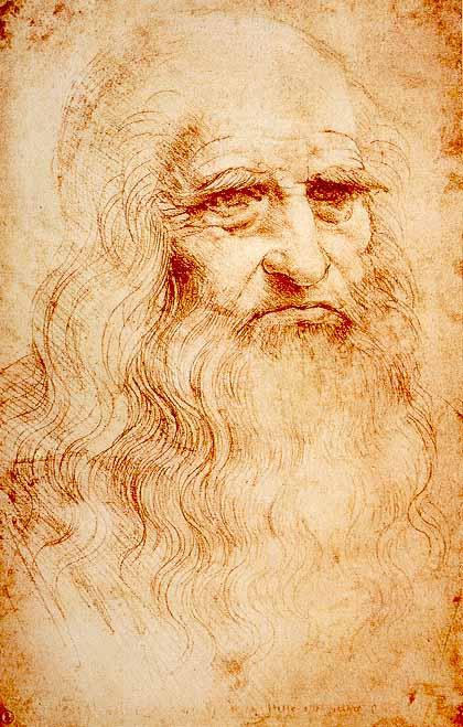 Leonardo da Vinci'nin kırmızı tebeşirle yaptığı otoportre