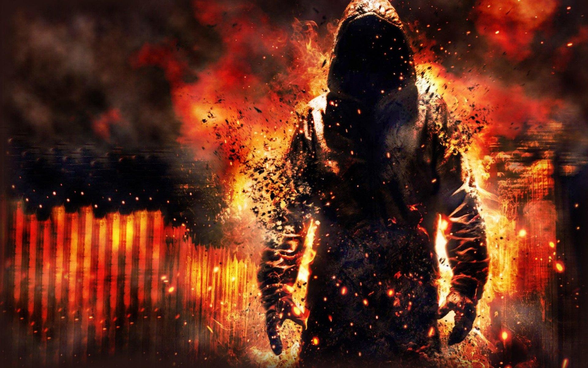 ateş içindeki adam resmi