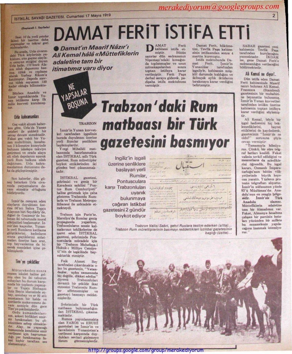 istiklal savaşı gazetesi - 17 mayıs 1919