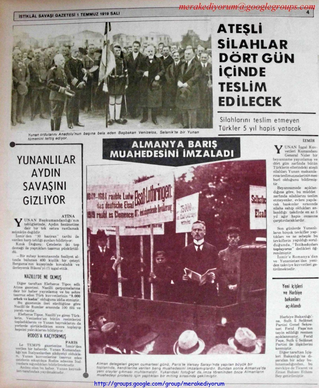 istiklal savaşı gazetesi - 1 temmuz 1919