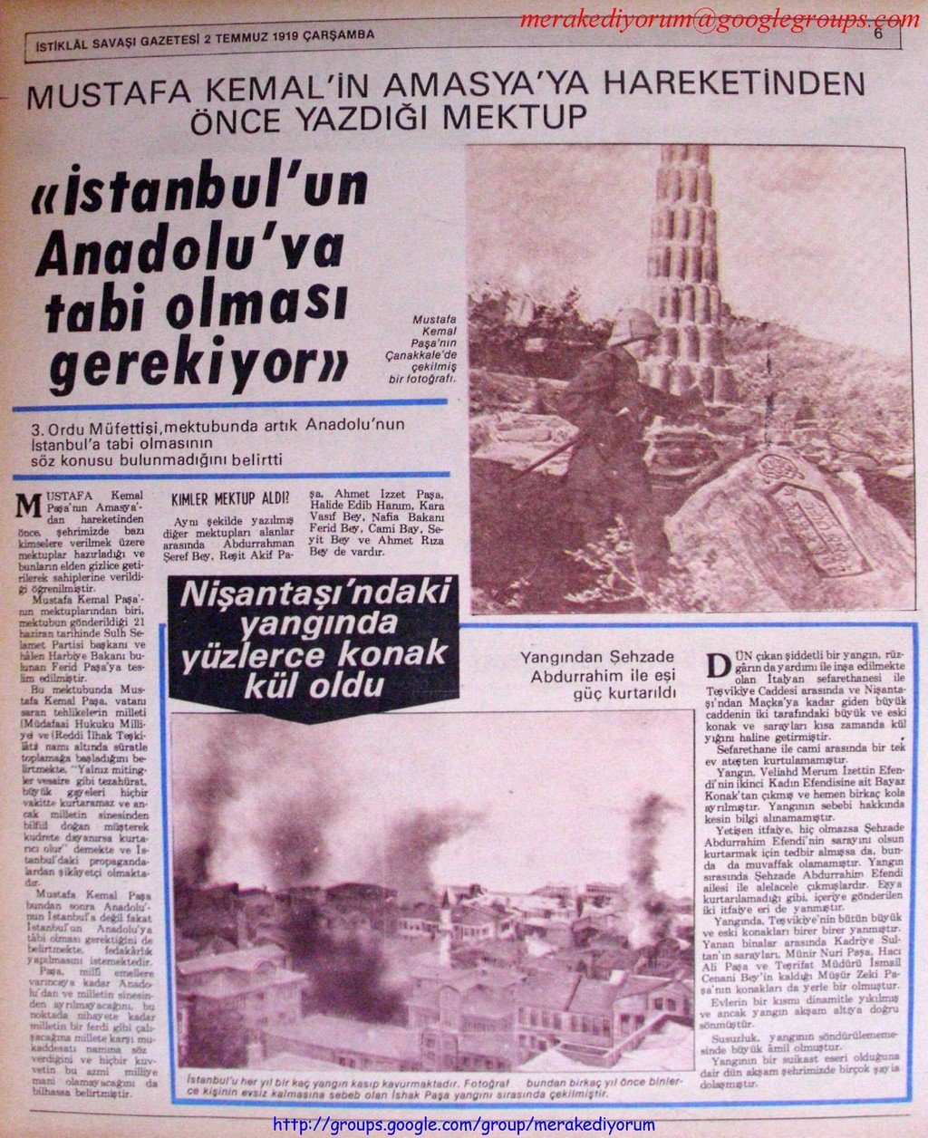 istiklal savaşı gazetesi - 2 temmuz 1919