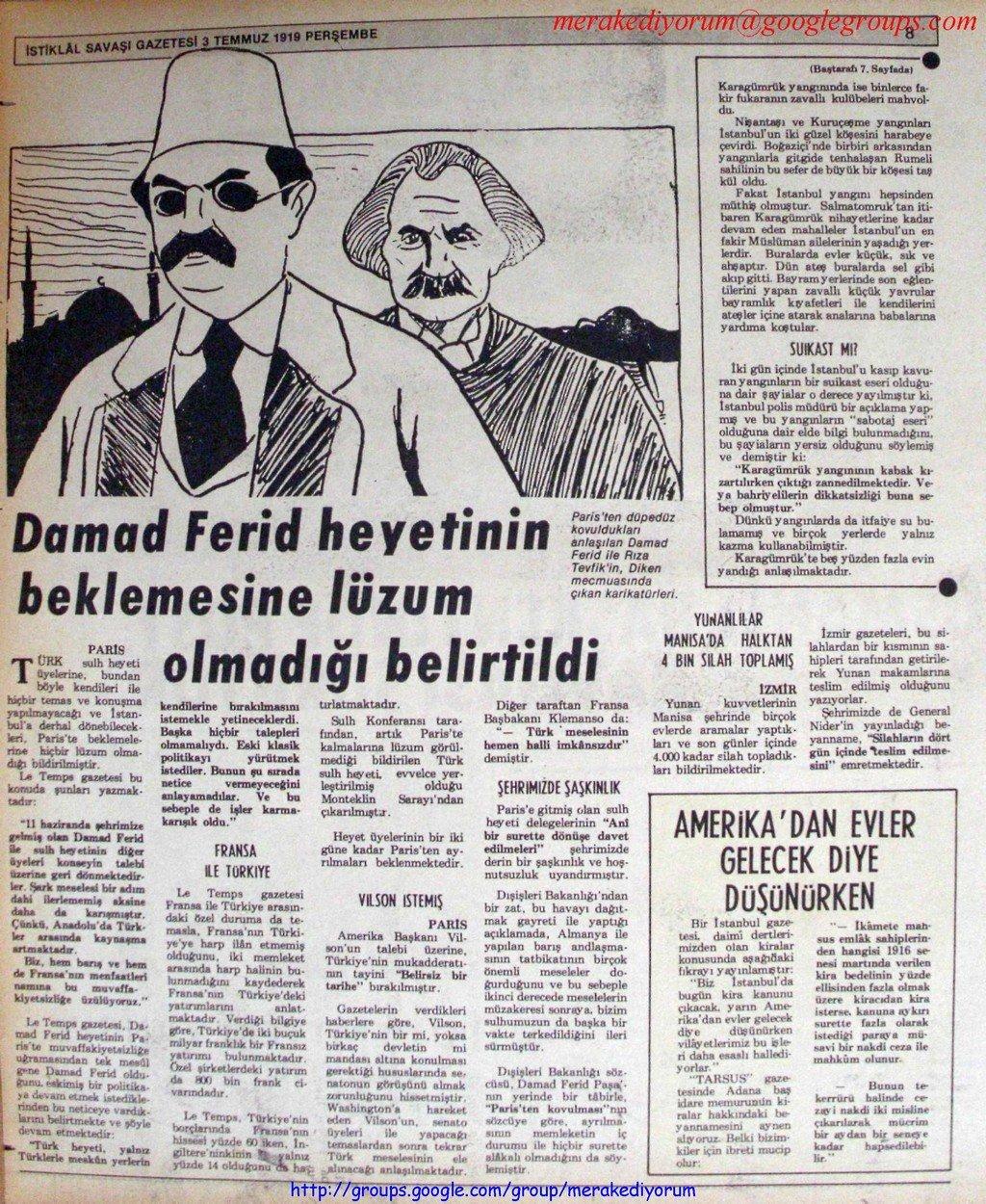 istiklal savaşı gazetesi - 3 temmuz 1919