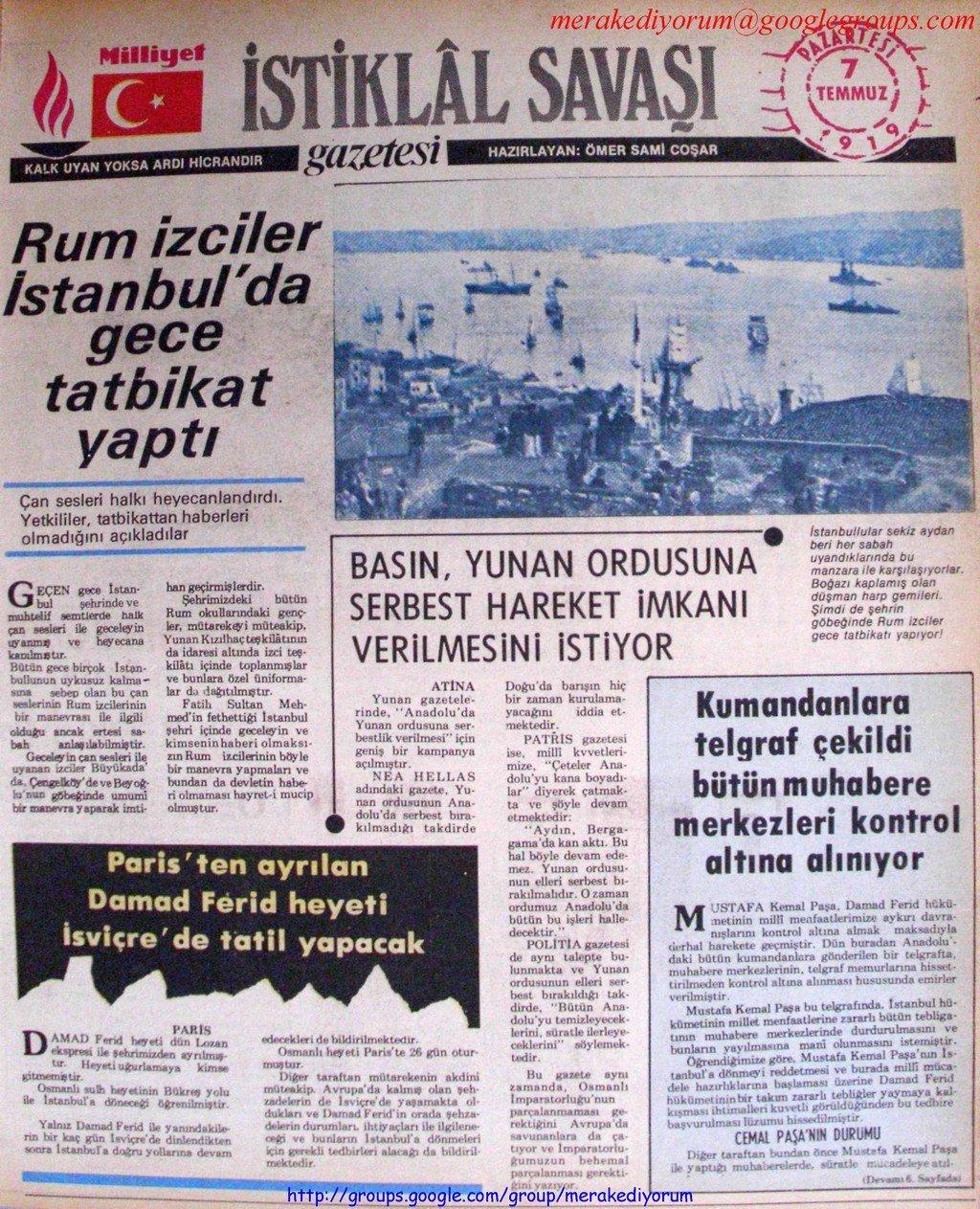 istiklal savaşı gazetesi - 7 temmuz 1919