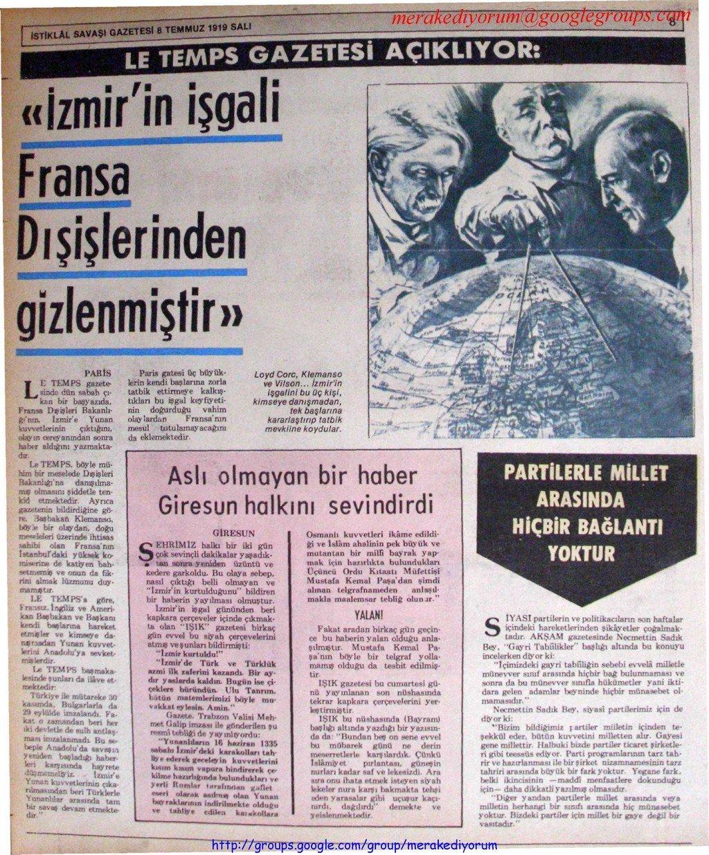istiklal savaşı gazetesi - 8 temmuz 1919
