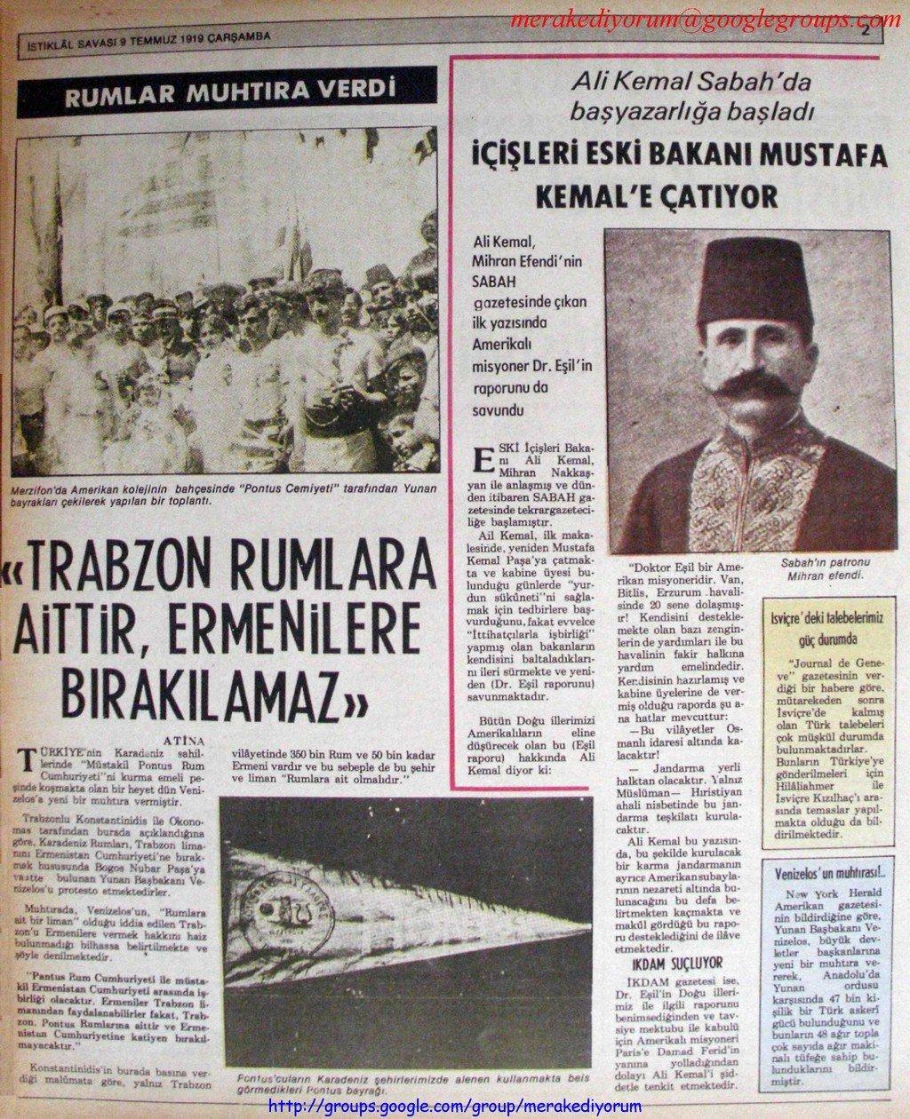 istiklal savaşı gazetesi - 9 temmuz 1919