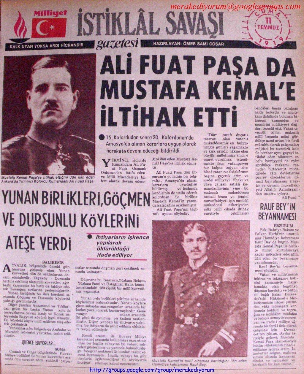 istiklal savaşı gazetesi - 11 temmuz 1919