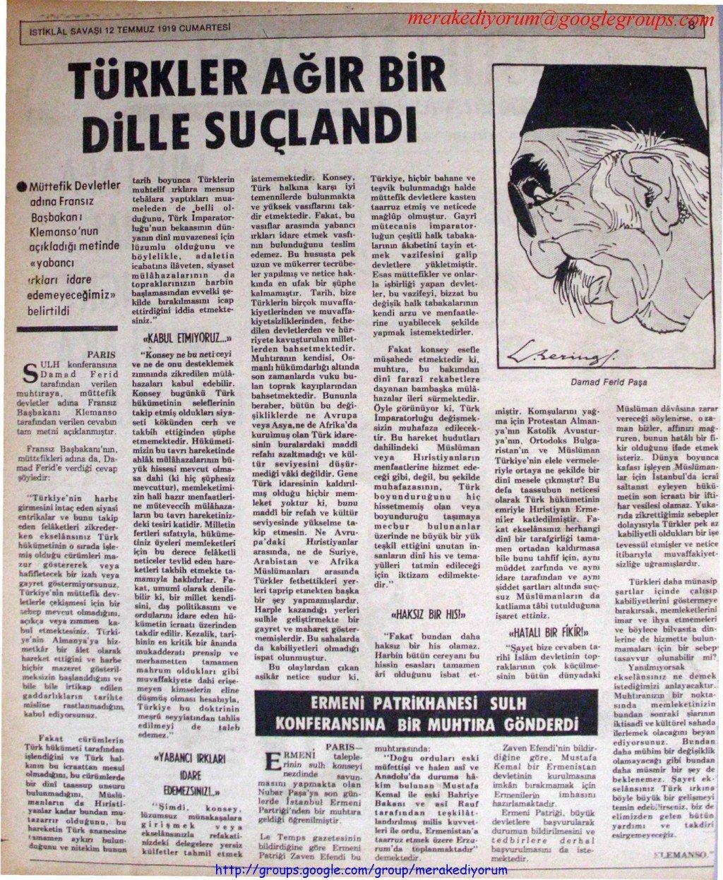 istiklal savaşı gazetesi - 12 temmuz 1919