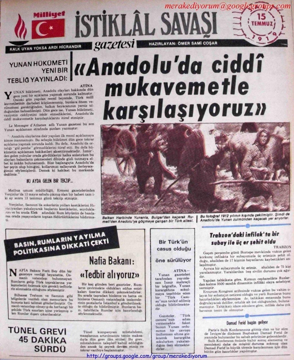 istiklal savaşı gazetesi - 15 temmuz 1919
