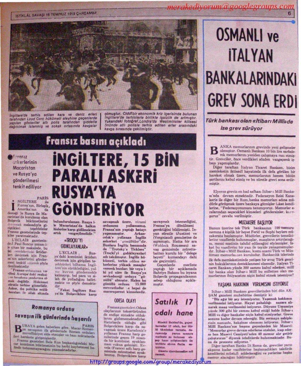 istiklal savaşı gazetesi - 16 temmuz 1919