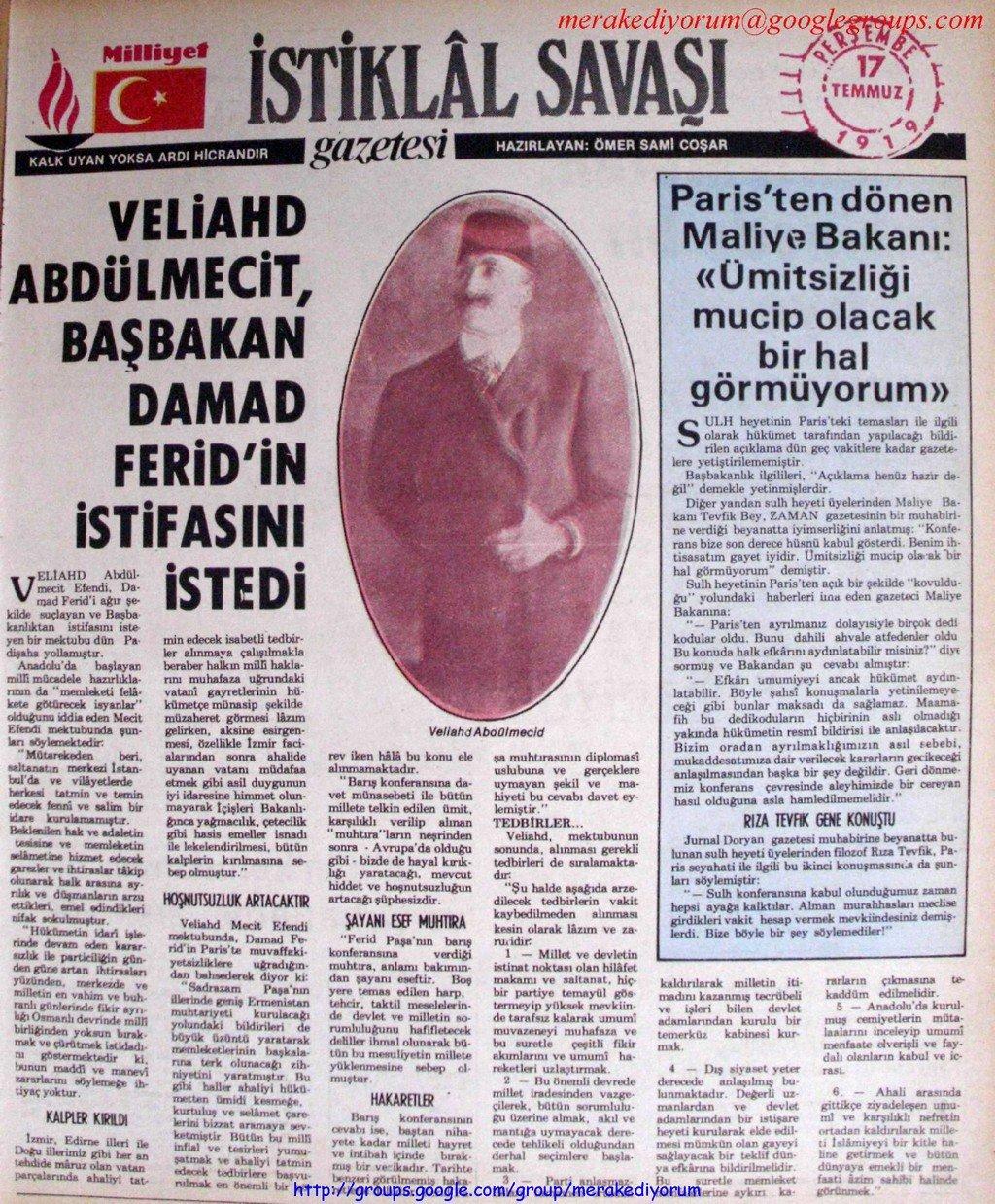 istiklal savaşı gazetesi - 17 temmuz 1919
