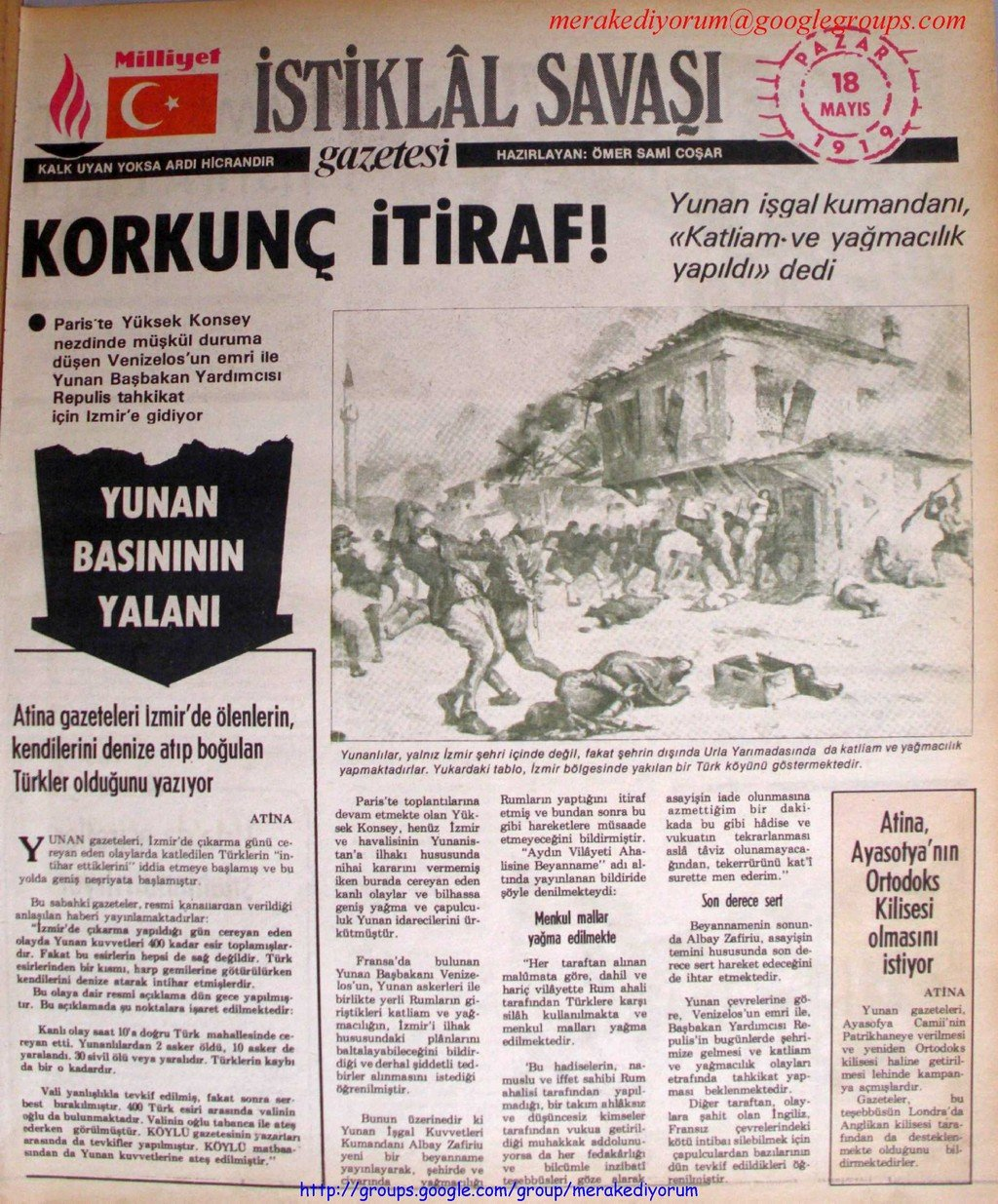 istiklal savaşı gazetesi - 18 mayıs 1919