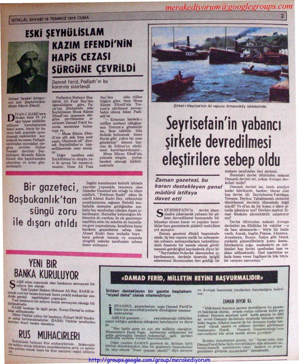 istiklal savaşı gazetesi - 18 temmuz 1919