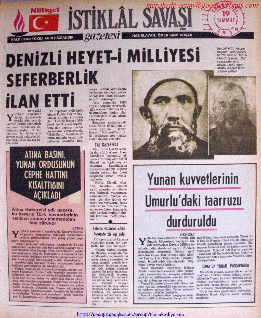 istiklal savaşı gazetesi - 19 temmuz 1919