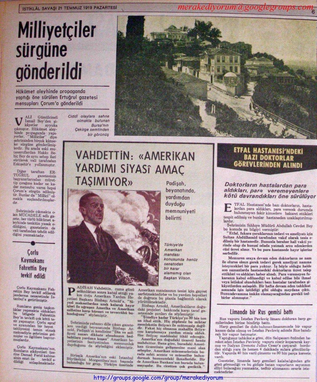 istiklal savaşı gazetesi - 21 temmuz 1919
