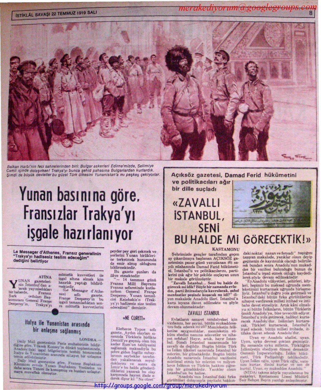 istiklal savaşı gazetesi - 22 temmuz 1919