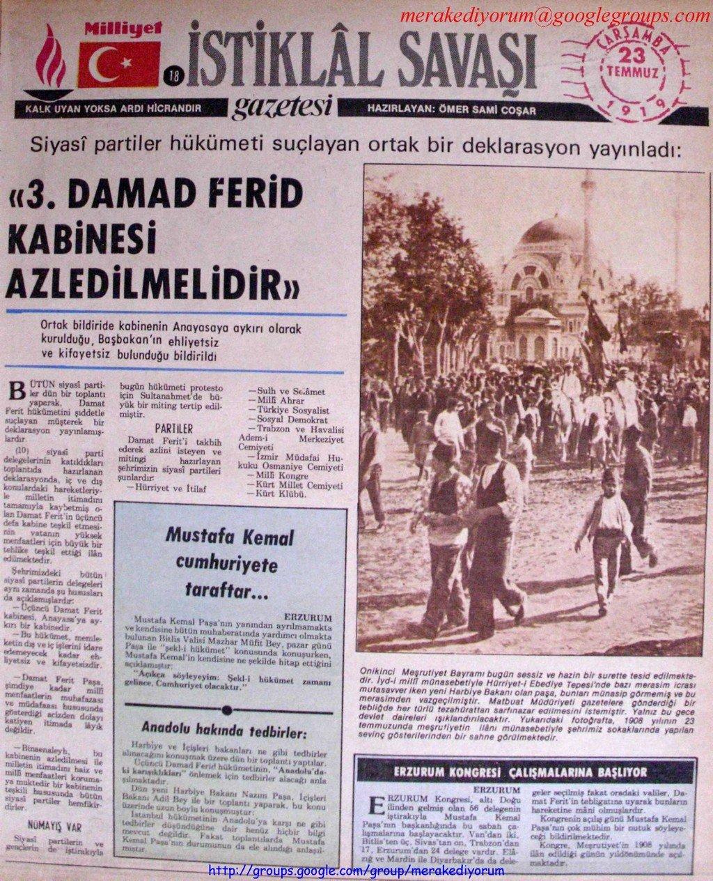 istiklal savaşı gazetesi - 23 temmuz 1919