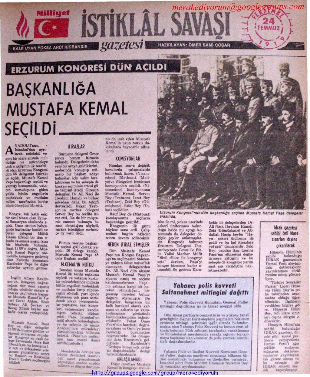 istiklal savaşı gazetesi - 24 temmuz 1919