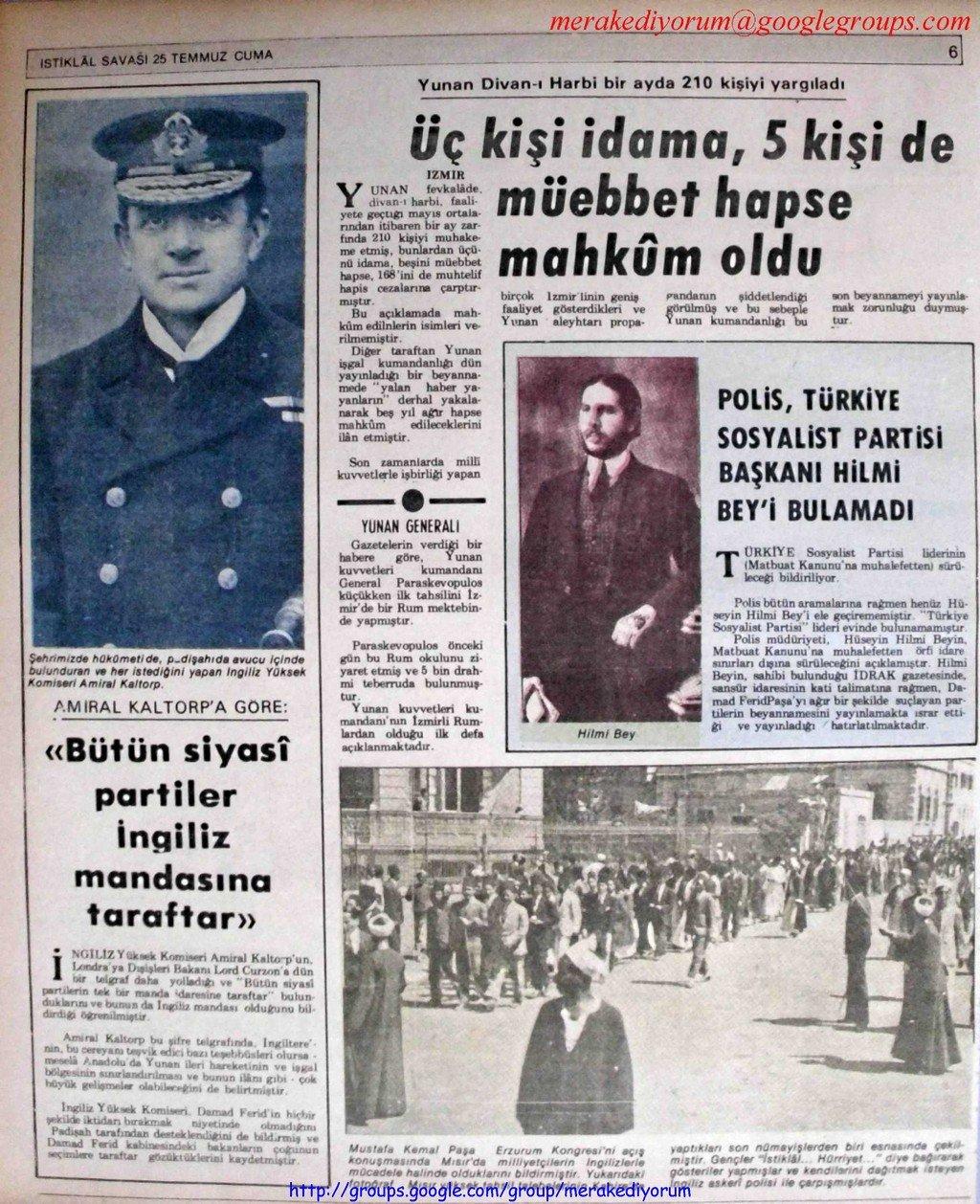 istiklal savaşı gazetesi - 25 temmuz 1919