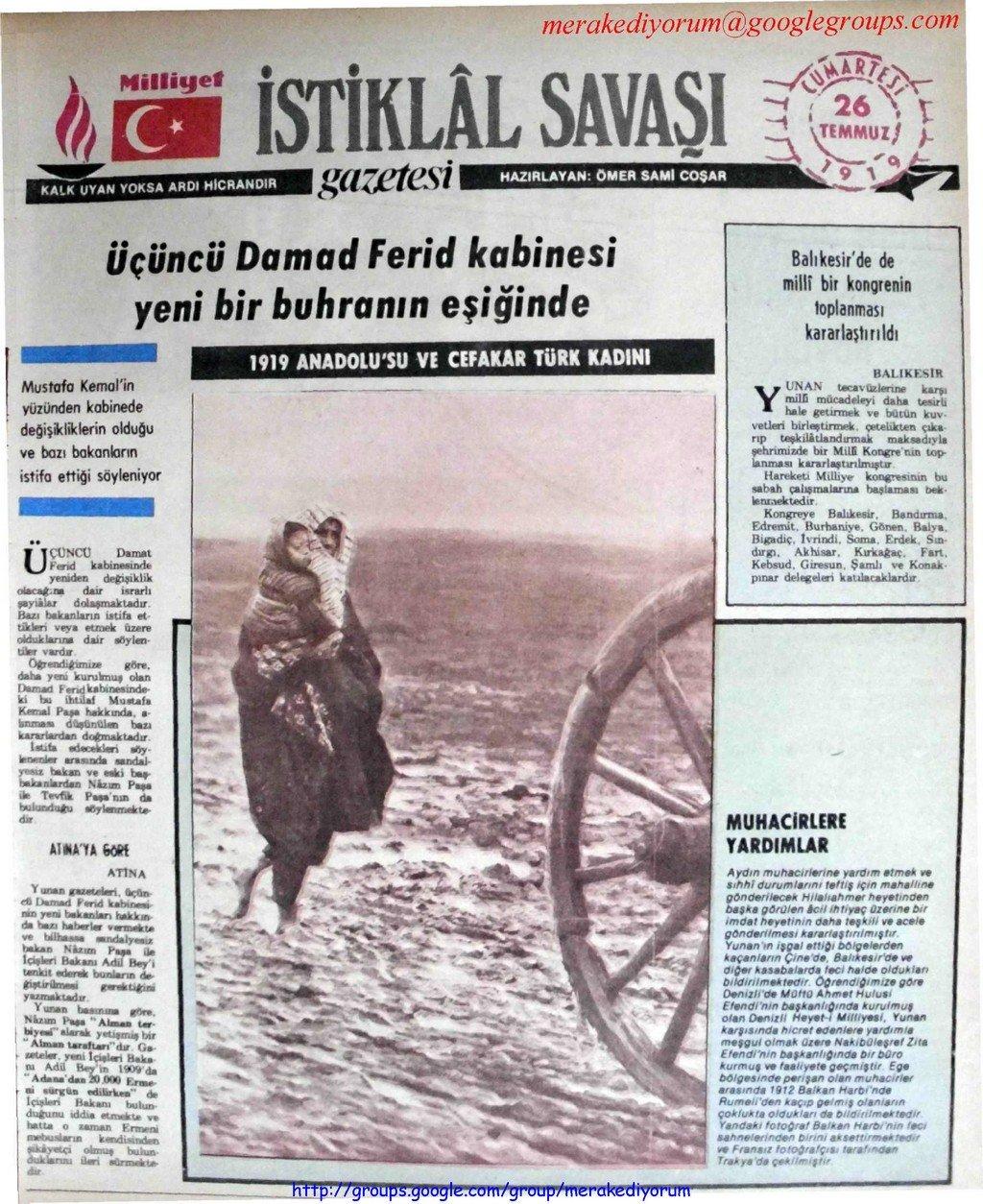 istiklal savaşı gazetesi - 26 temmuz 1919