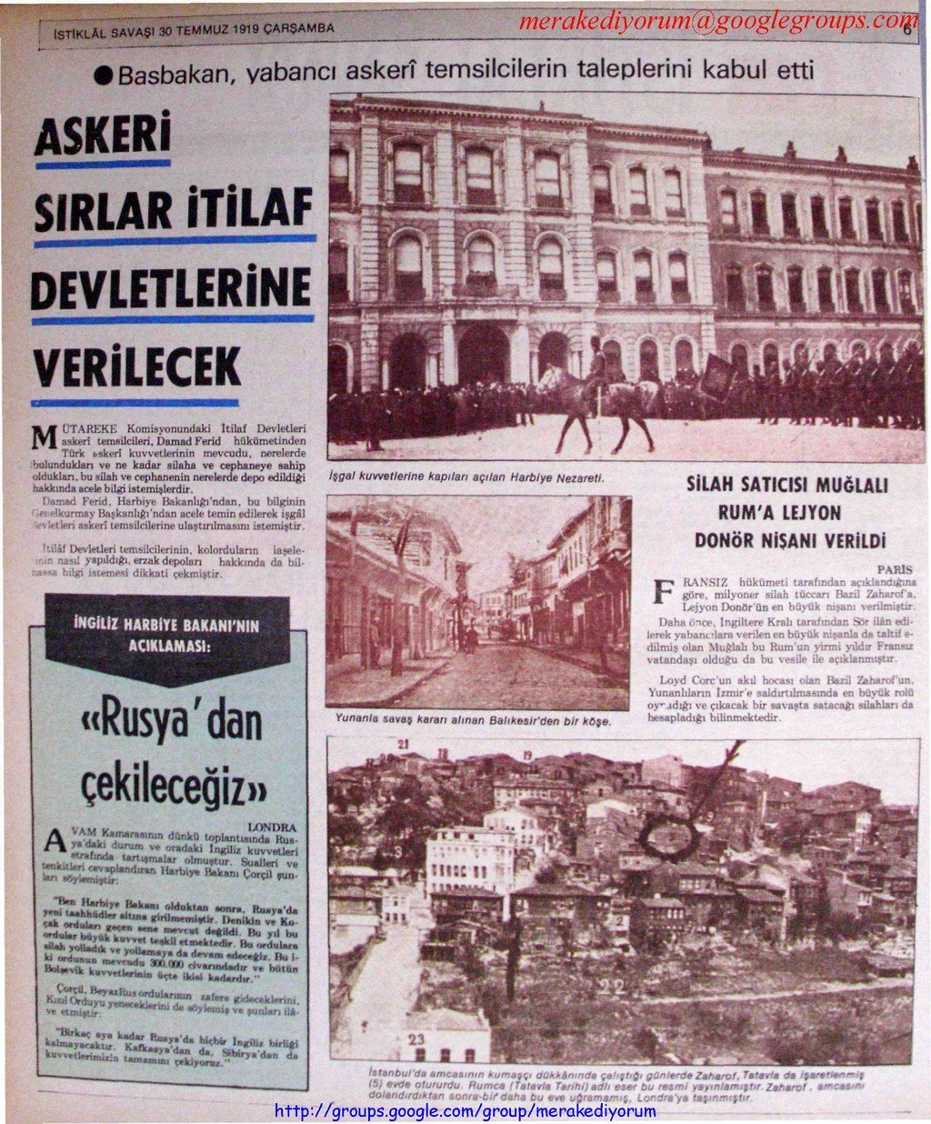 istiklal savaşı gazetesi - 30 temmuz 1919