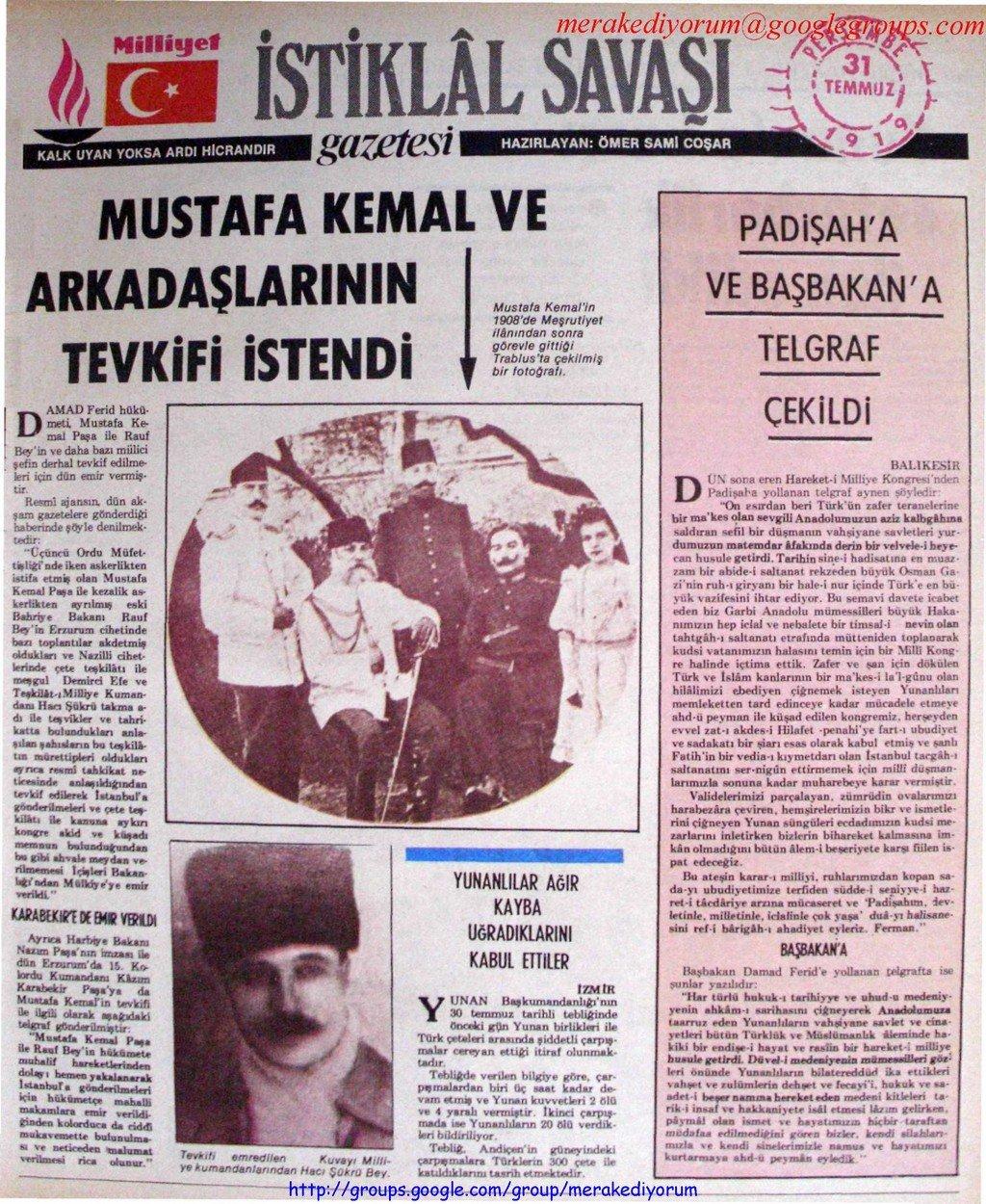istiklal savaşı gazetesi - 31 temmuz 1919