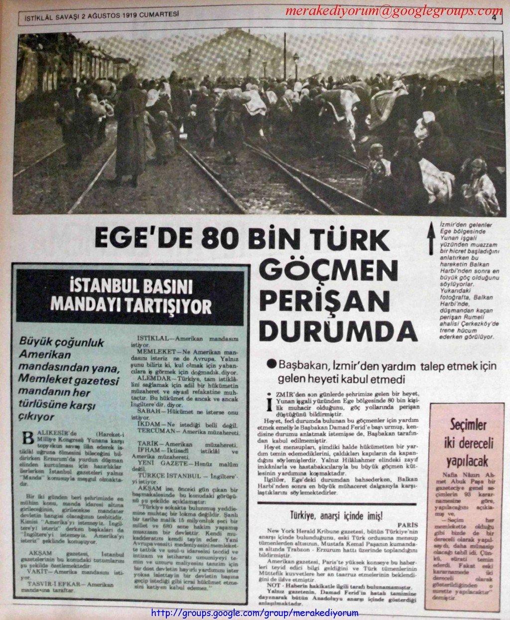 istiklal savaşı gazetesi - 2 ağustos 1919