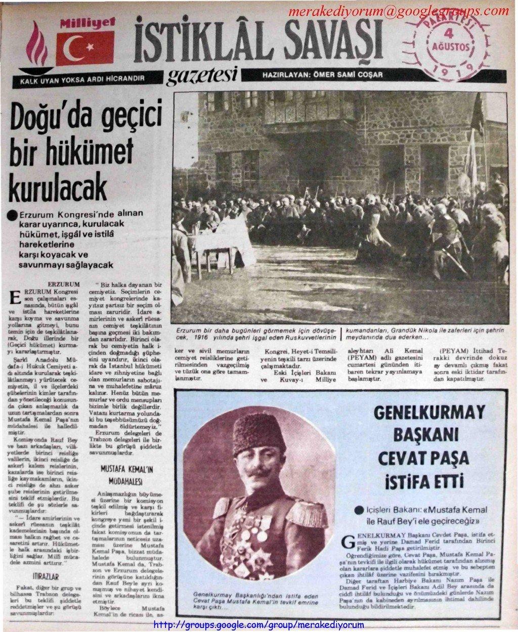 istiklal savaşı gazetesi - 4 ağustos 1919