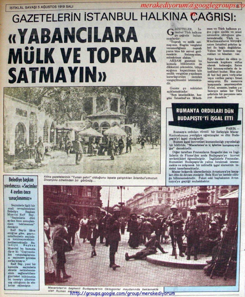 istiklal savaşı gazetesi - 5 ağustos 1919