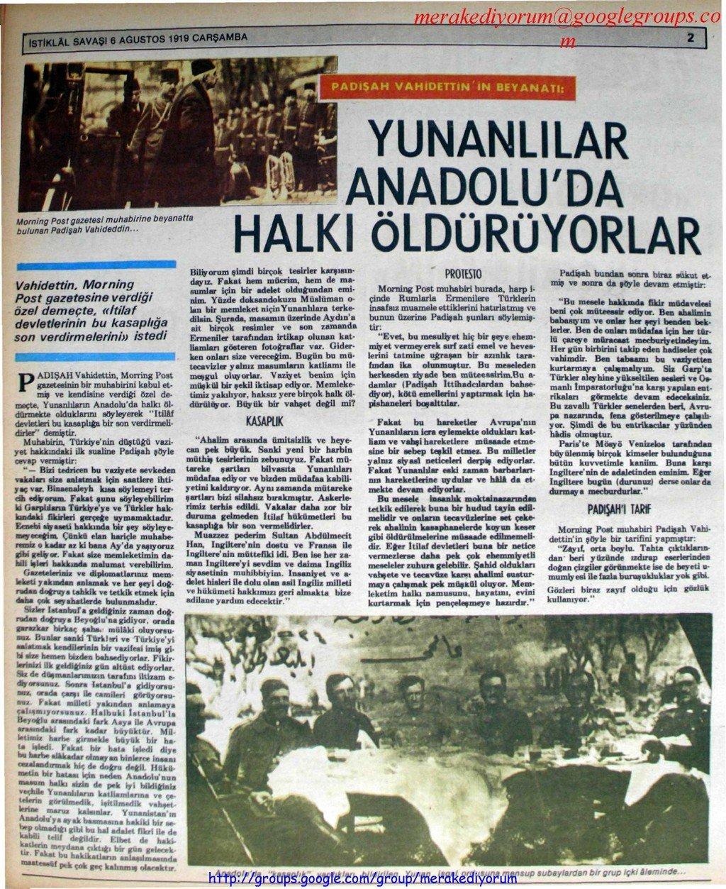 istiklal savaşı gazetesi - 6 haziran 1919