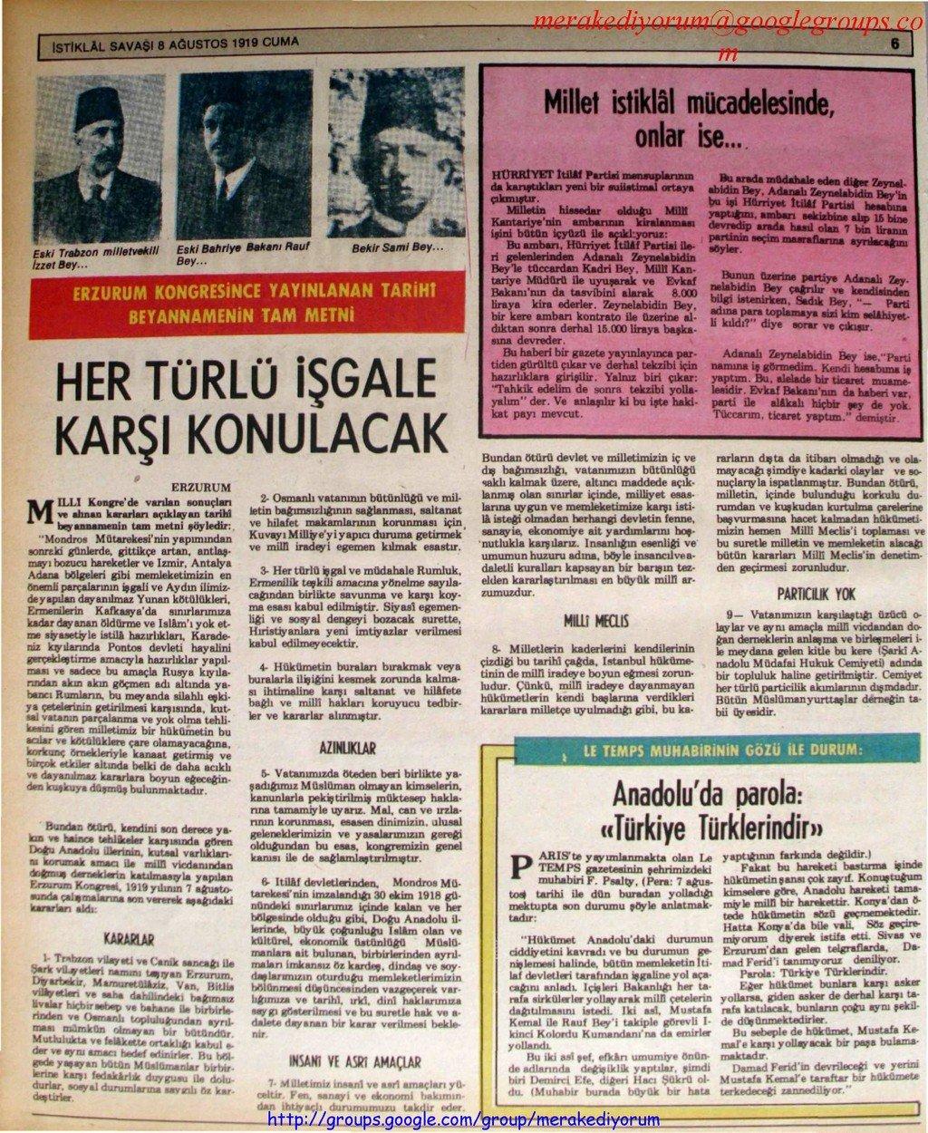 istiklal savaşı gazetesi - 7 ağustos 1919