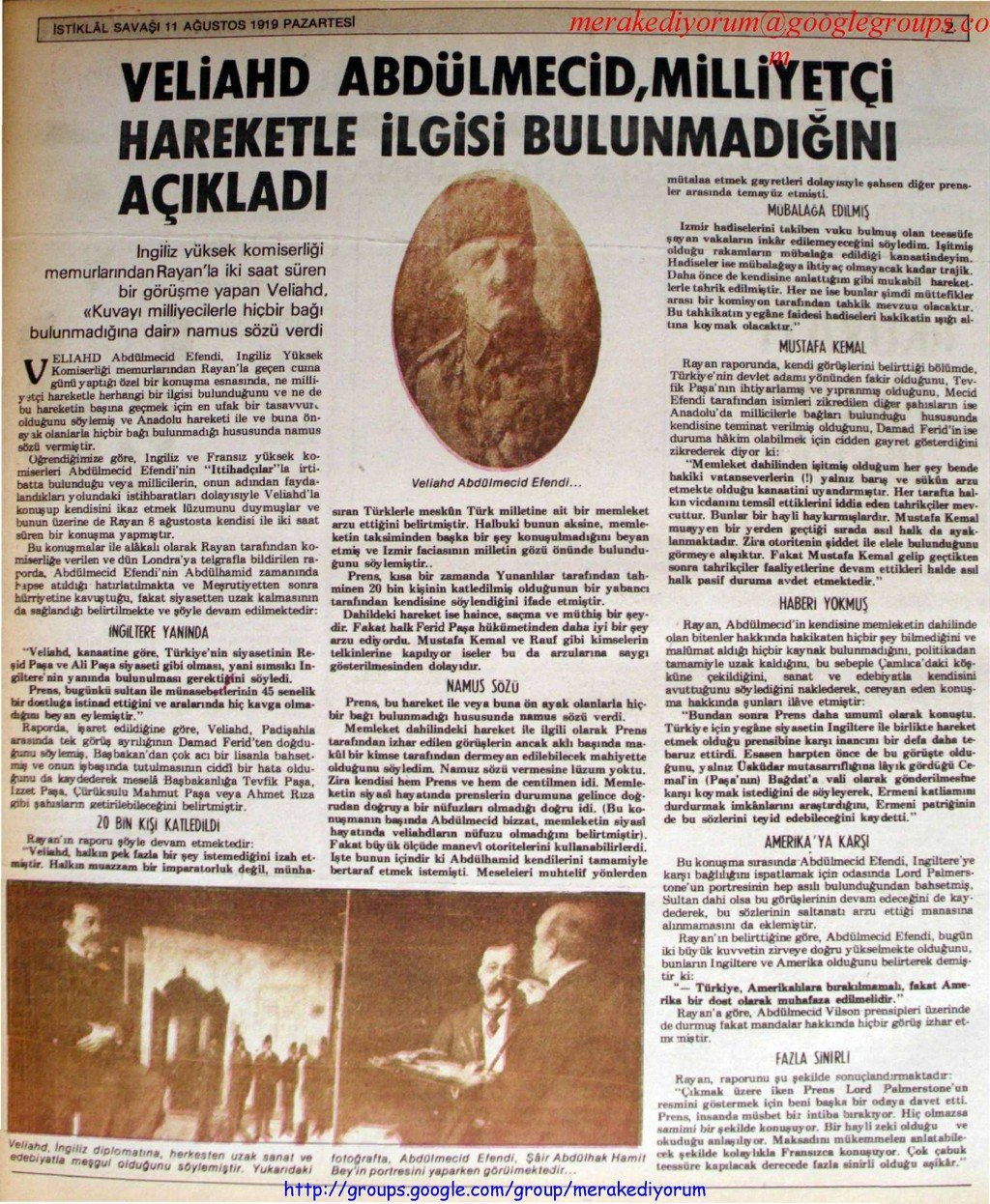 istiklal savaşı gazetesi - 11 ağustos 1919