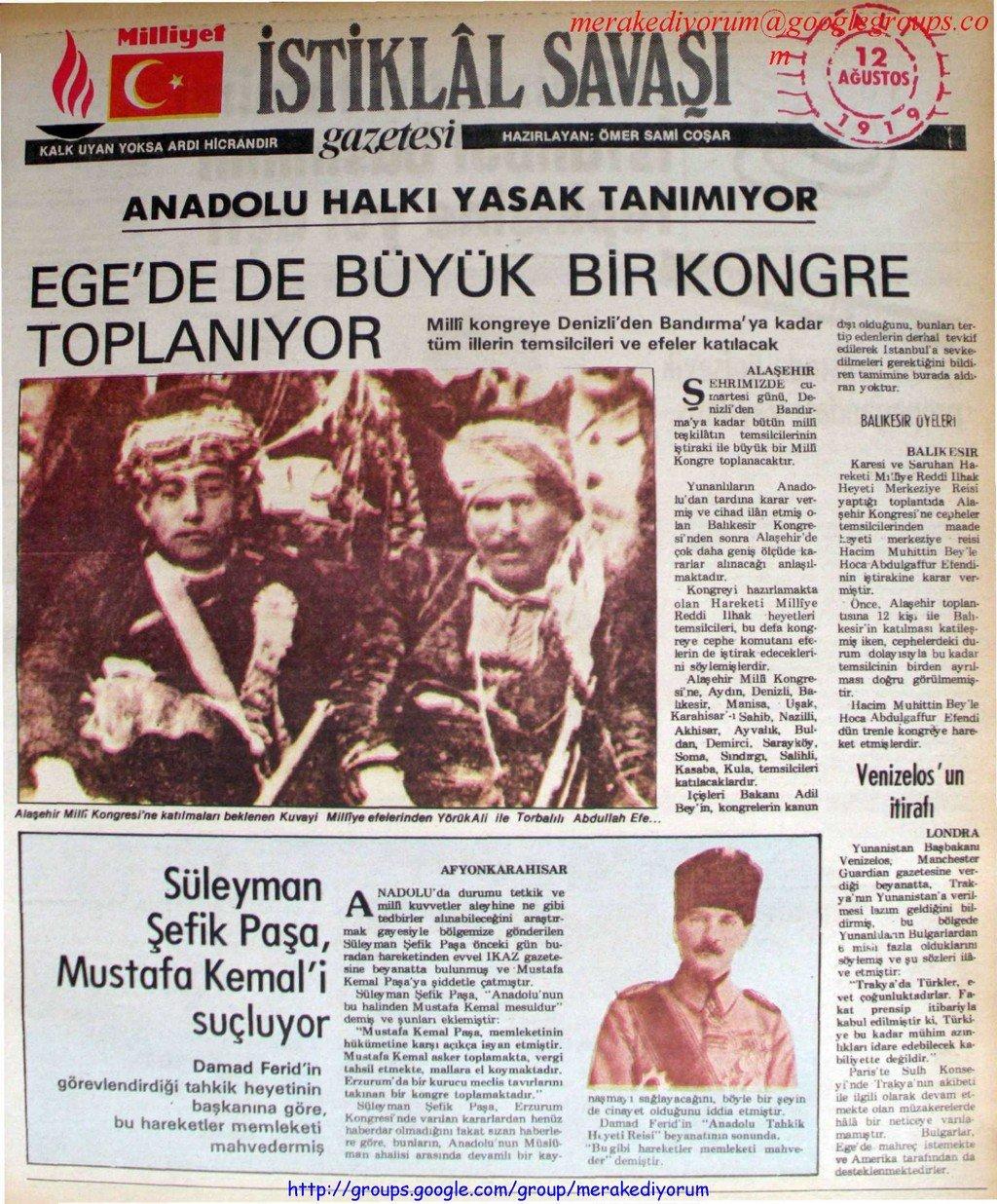 istiklal savaşı gazetesi - 12 ağustos 1919