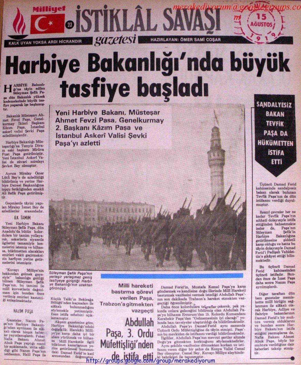 istiklal savaşı gazetesi - 15 ağustos 1919