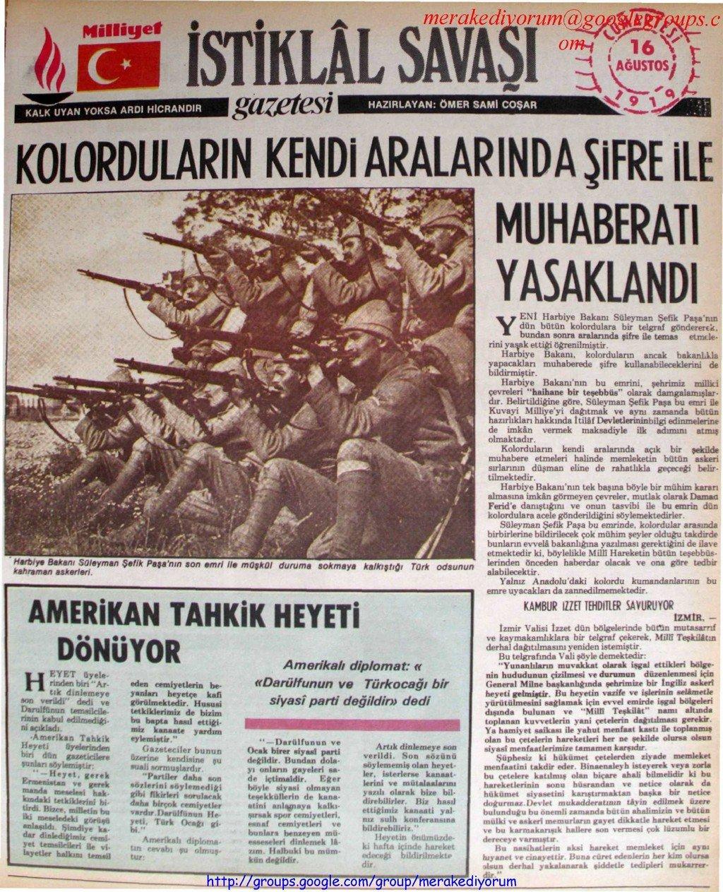 istiklal savaşı gazetesi - 16 ağustos 1919