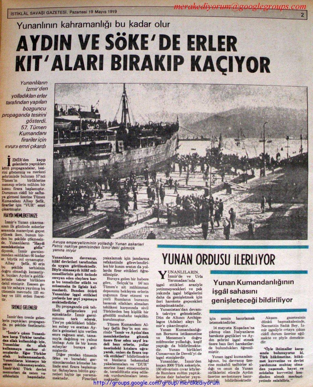 istiklal savaşı gazetesi - 19 mayıs 1919